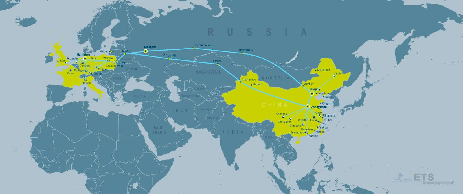 ETS China Rail Service route itinerary